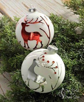 Raz 4 Deer Ball Ornament Set Of 2 Painted Christmas Ornaments Christmas Ball Ornaments Diy Handmade Christmas Ornaments