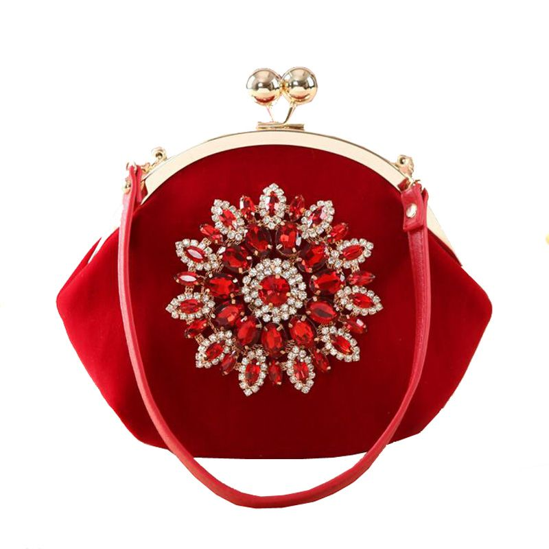 Velvet Heart Shape Women Evening Bag Wedding Prom Handbag Purse Bridal Ladies