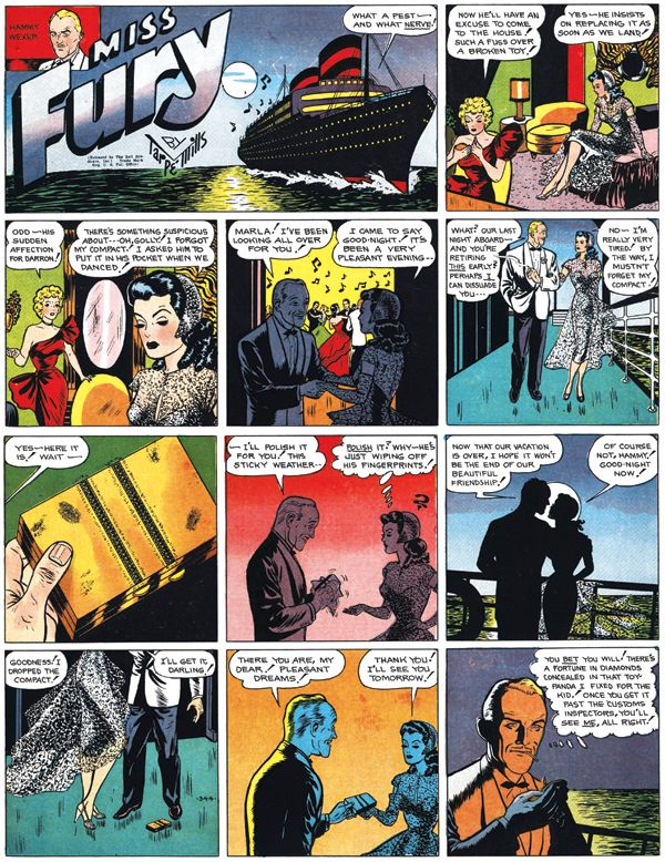 """In Tarpe Mills' 1940s comic strip """"Miss Fury,"""" socialite Marla Drake has all sorts of noir-style adventures and sometimes even fights crime as a costumed crusader in a panther suit. (Via PrintMag.com)"""
