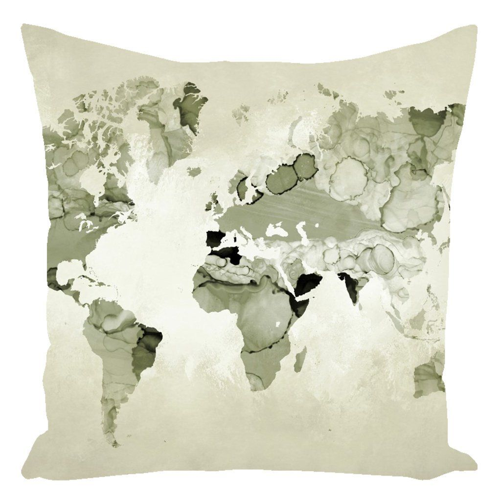 World Map Throw Pillow Sage Green Cushion Case Continents