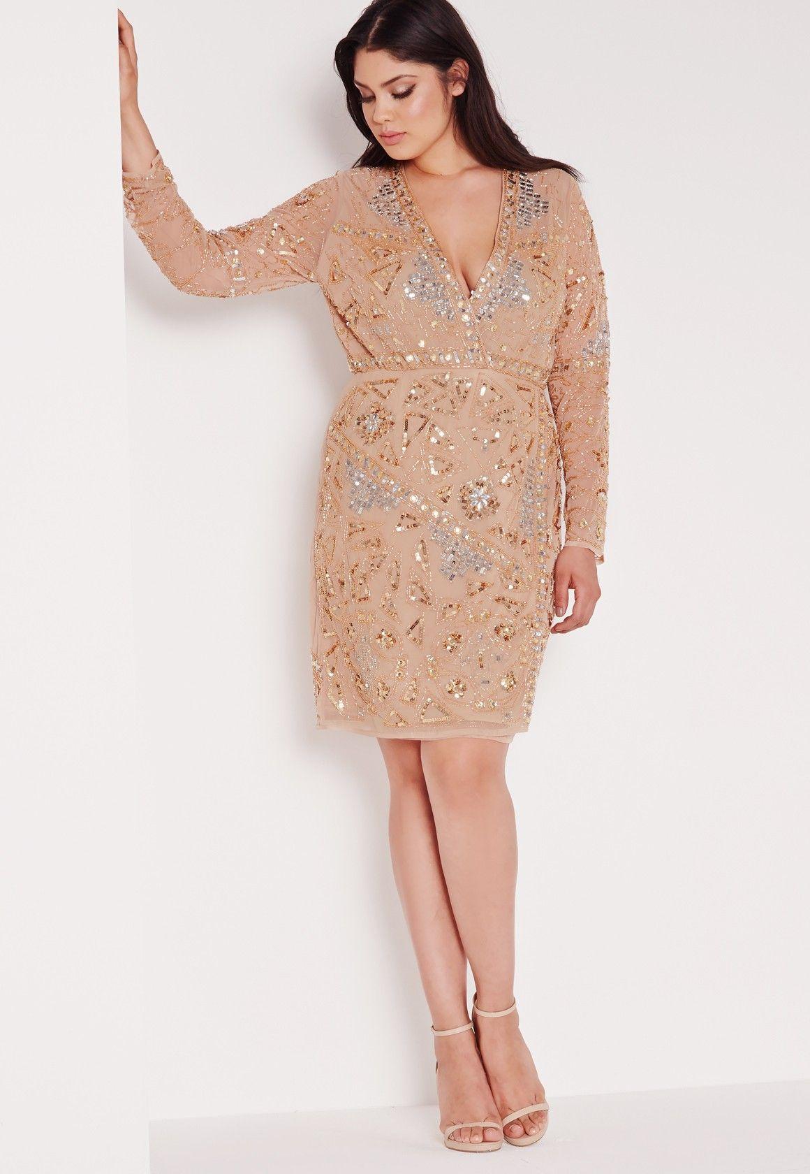 Missguided - Plus Size Premium Embellished Dress Gold ...