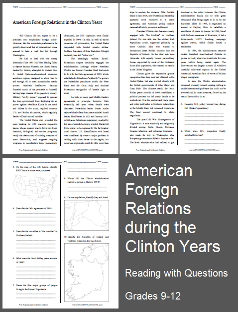 american foreign relations in the clinton years reading with questions worksheet free to. Black Bedroom Furniture Sets. Home Design Ideas