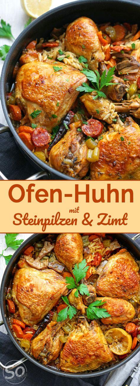 Ofen-Huhn mit Steinpilzen und Zimt