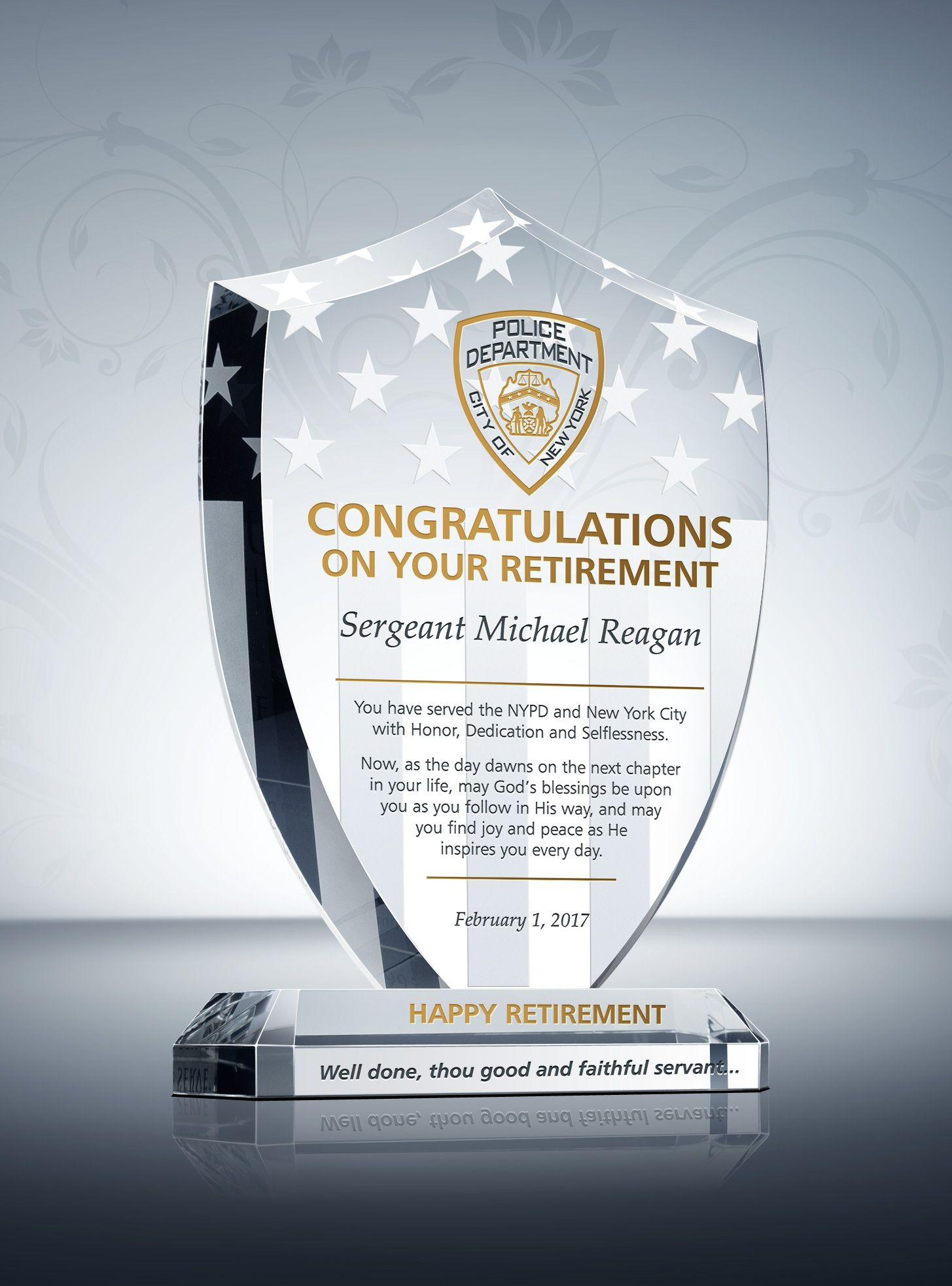 Shield Police Retirement Plaque Retirement