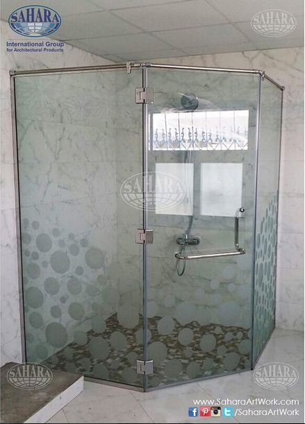 Shower Enclosure With Bubbles Sandblasted Design And Royal