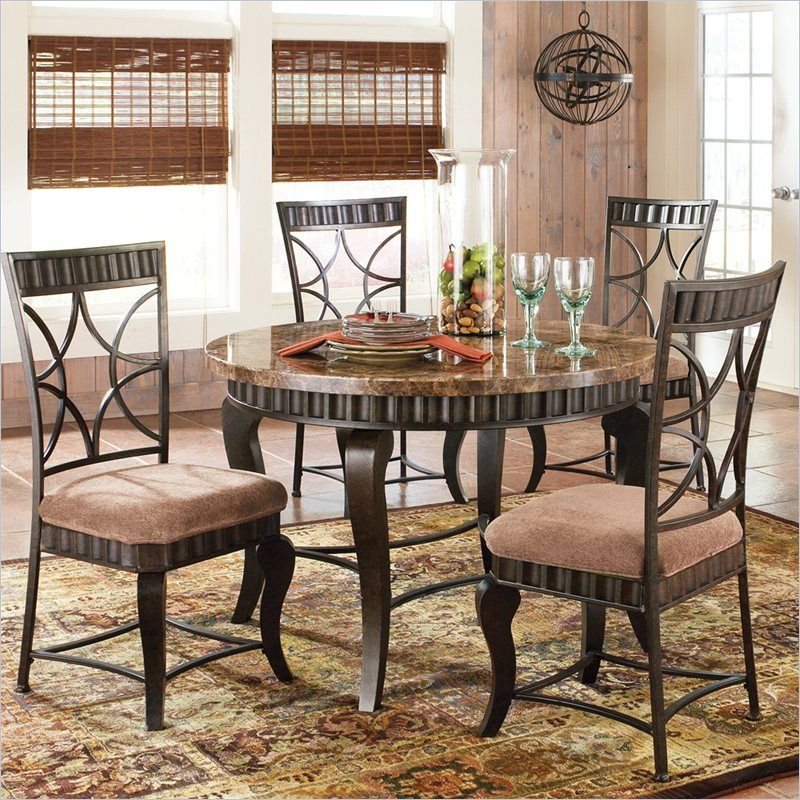 Hamlyn 5 Piece Marble Top Dining Table Set In Pewter Hl500t 5pc
