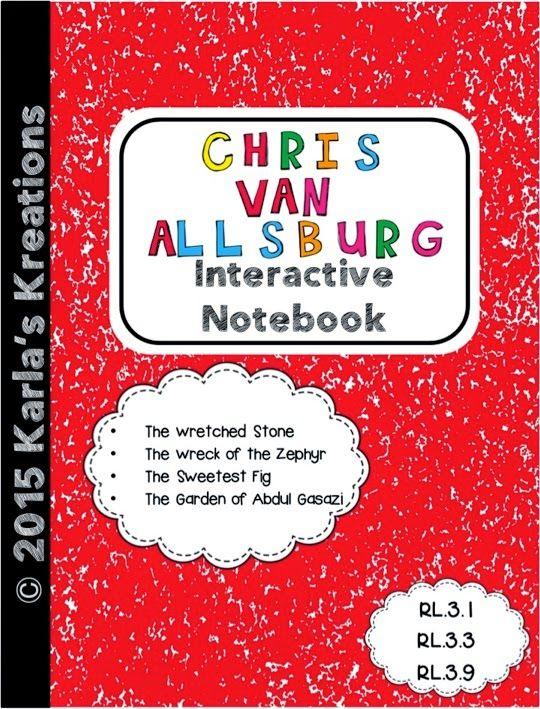 Blog post describing Interactive Notebook activities for four different Chris Van Allsburg books $
