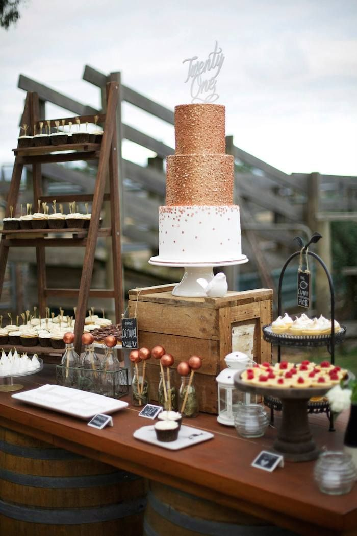 Rustic Gold and Bronze 21st Birthday Party with Such Great ...