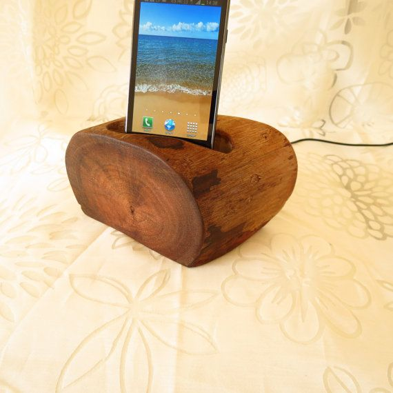 One of a kind !!! natural Eucalyptus Wood Docking Station For a Smart Phone unique Eco-friendly including linked data\charging usb cable
