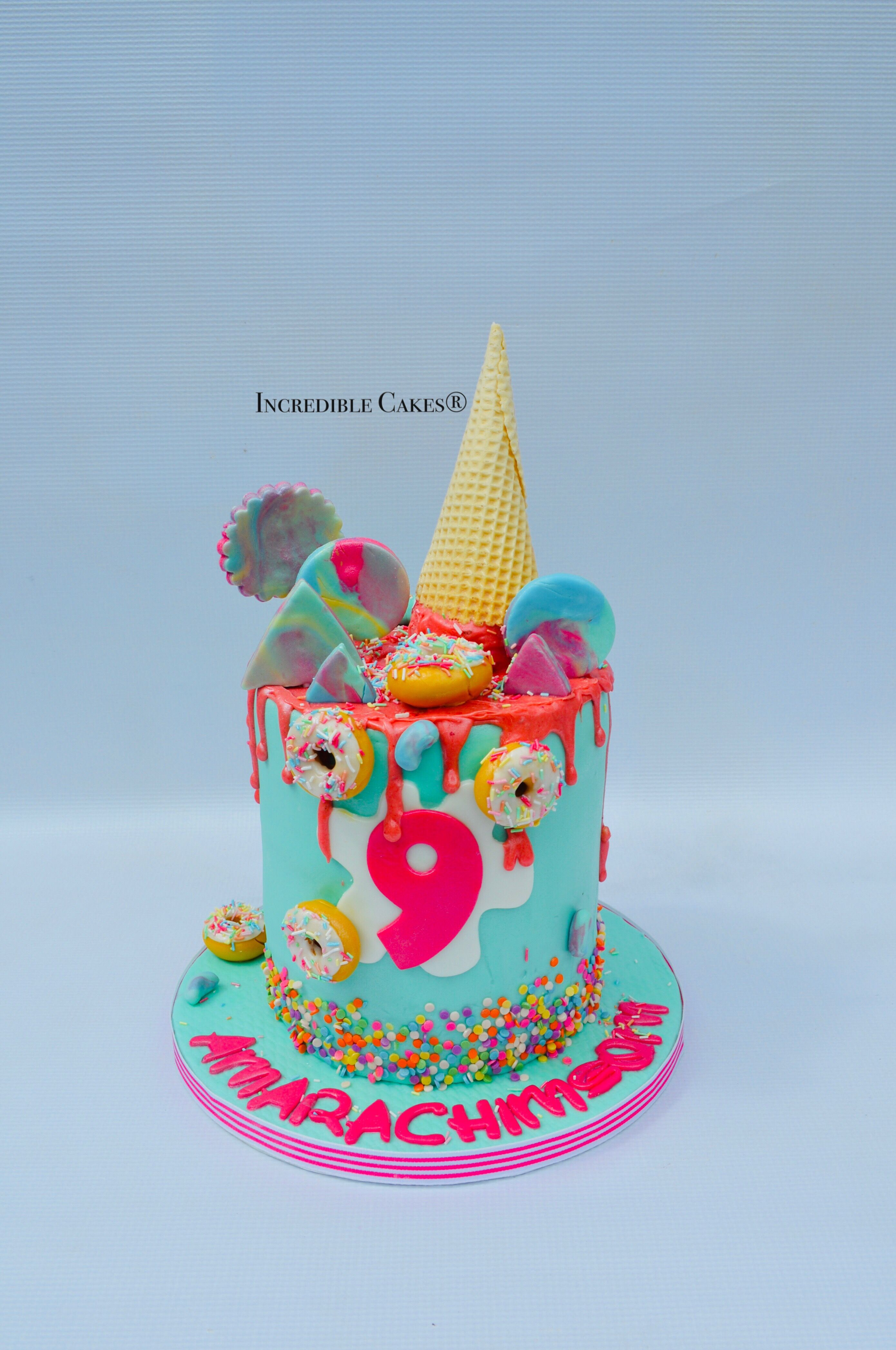 Swell Ice Cream Sweets And Doughnuts Drip Cake For 9 Year Olds In 2020 Personalised Birthday Cards Beptaeletsinfo