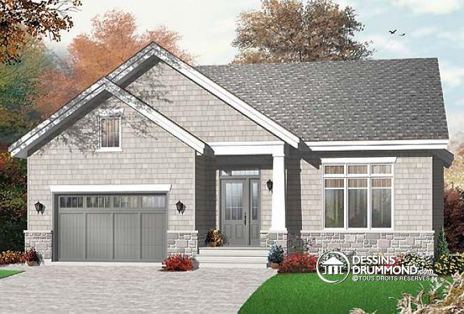 W3277 - Plan de maison de style Craftsman, salle de séjour avec - liste materiaux construction maison