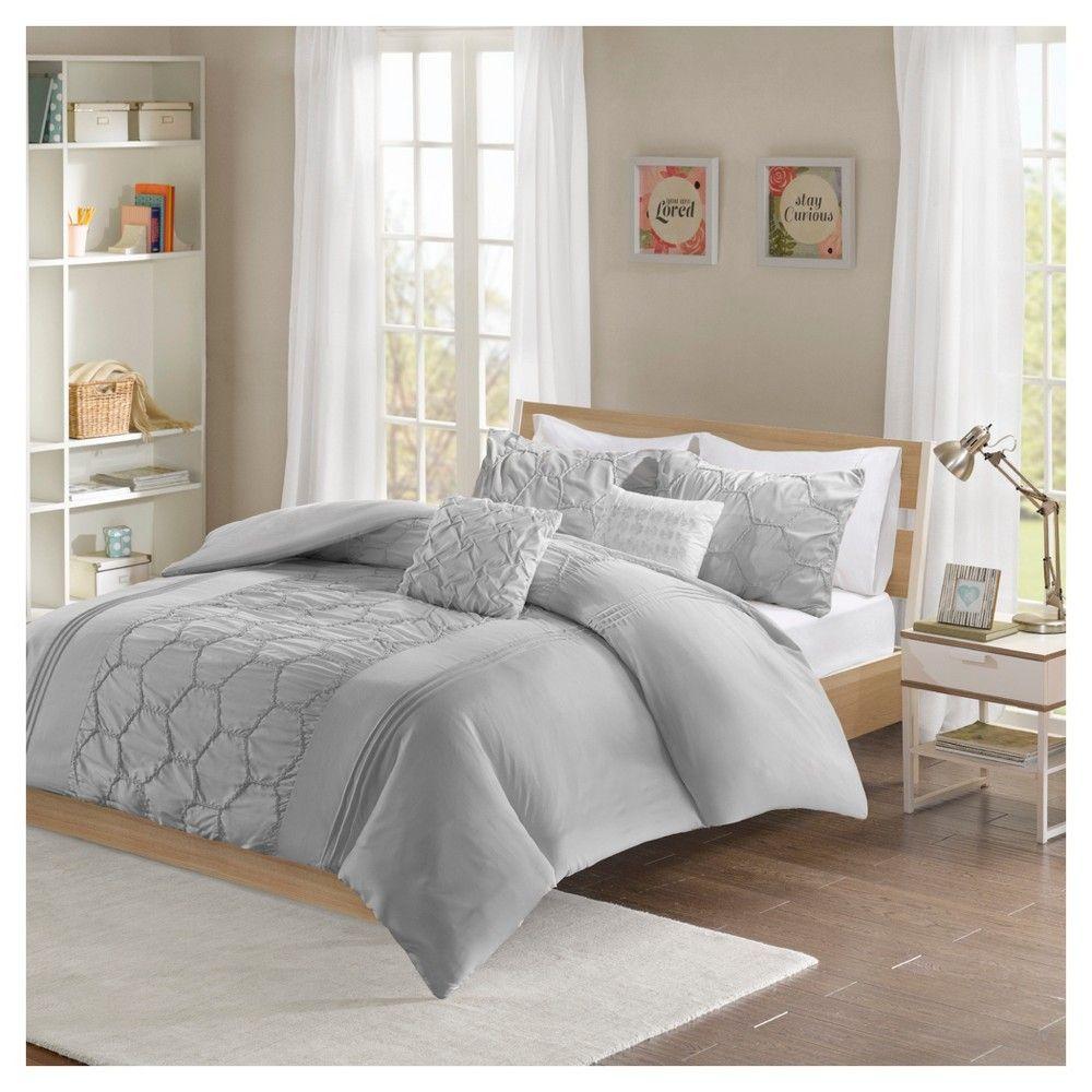 Gray Etta Duvet Cover Set Full/Queen Comforter sets