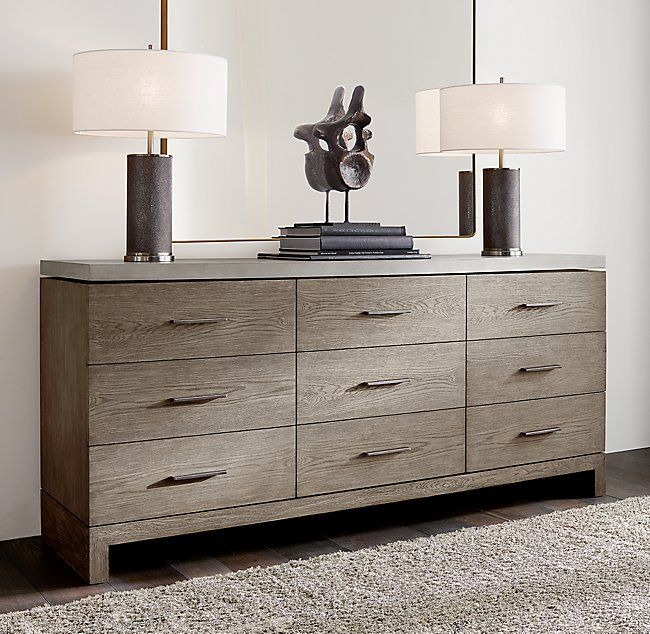 Meade 6 Drawer Low Wide Dresser With Concrete Top 9 Drawer Dresser Low Dresser Dresser Drawers