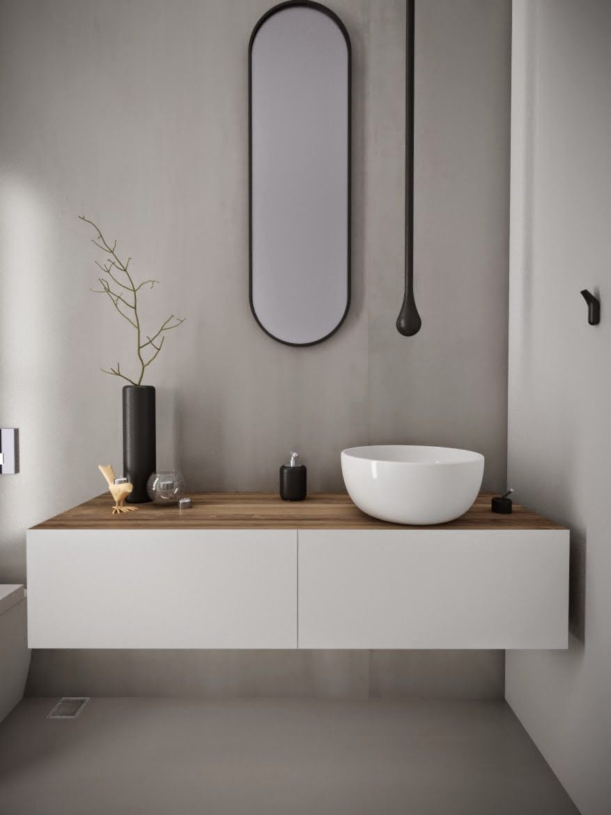 Minosa Design Powder Room Something Different Is Becoming Normal Bathroom Grey Floor W