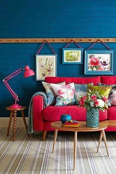muro azul salones Pinterest Azul, Decoración y Interiores