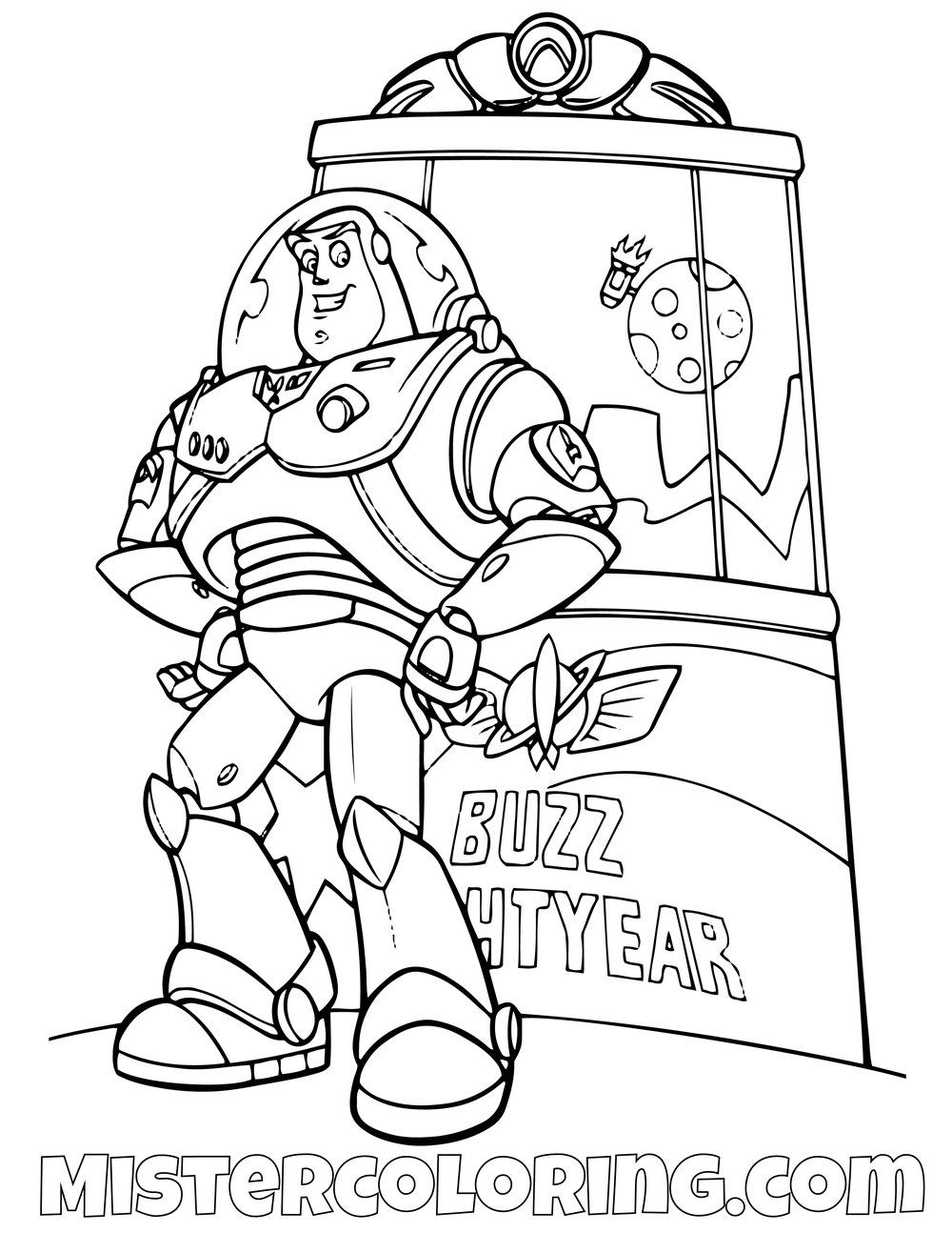 Buzz Lightyear With His Box Toy Story Coloring Page Toy Story