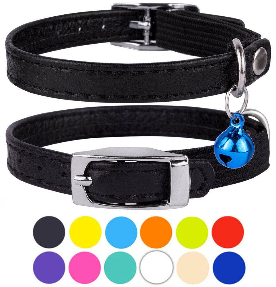 CollarDirect Leather Cat Collar Cat Safety Collar with