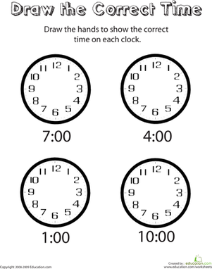 Analog Clocks: Draw the Time | Worksheets for kindergarten, To ...