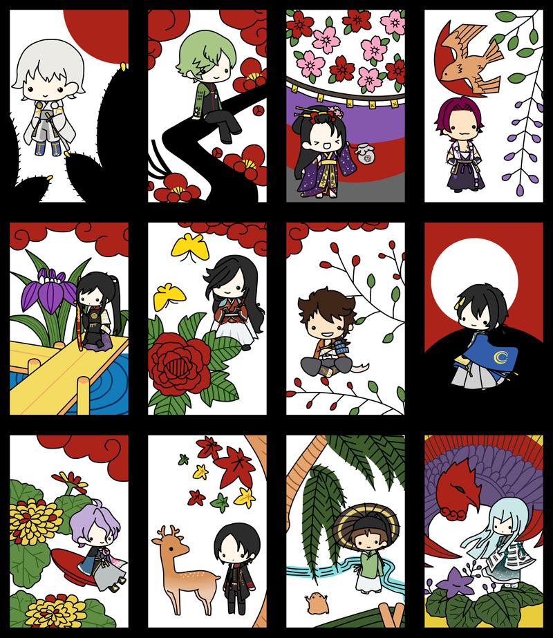 touken ranbu 刀剣花札 february 19th 2015 pixiv 花札 カード デザイン 百人一首