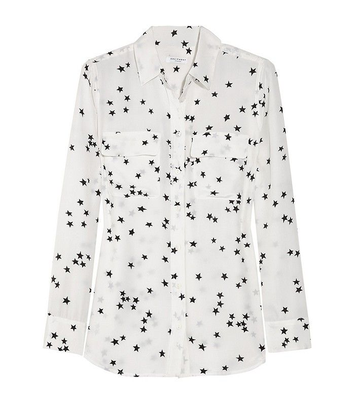 Equipment Slim Signature Printed Washed-Silk Shirt in Star Print
