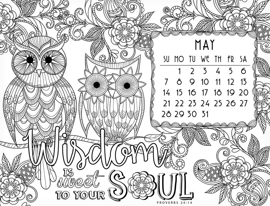 Coloring Calendar 2017 inside page | Coloring for Adults ...