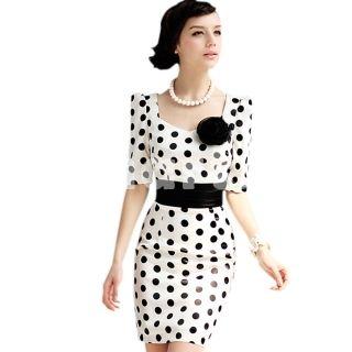 V-neck Dots OL Style Package Hip Slim Dress M,$27.46