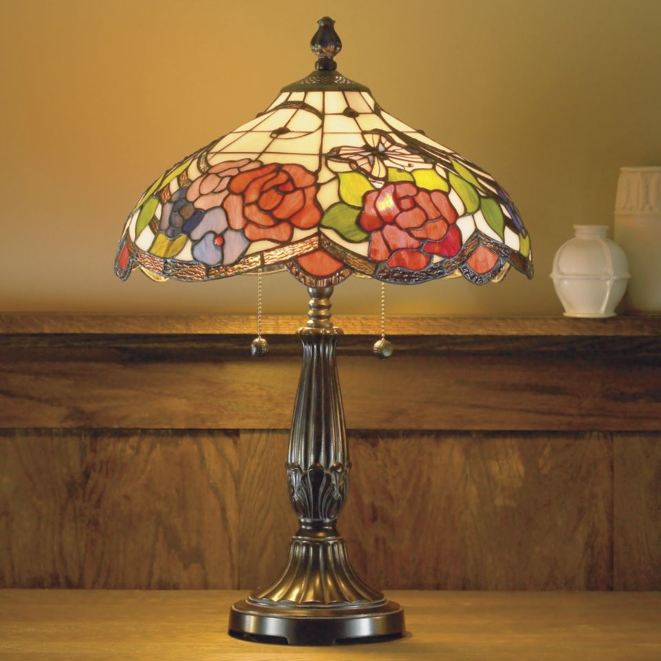 dale tiffany butterfly and rose table
