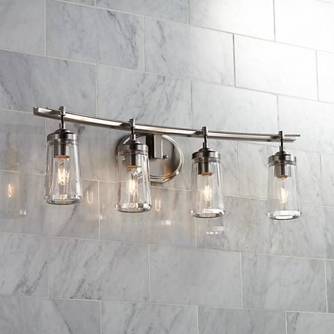 "Poleis 4Light 32"" Wide Brushed Nickel Bath Light  Bath Light Adorable Industrial Bathroom Light Fixtures Inspiration"