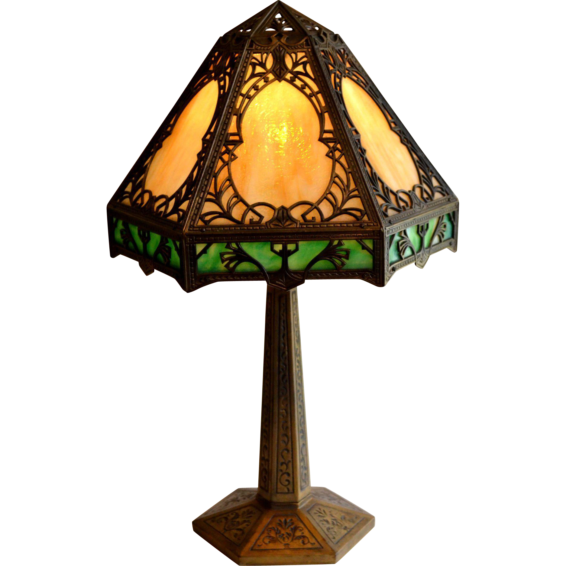 Slag glass panel lamp with granite texture glass signed pittsburgh kokomo glass glass lamps