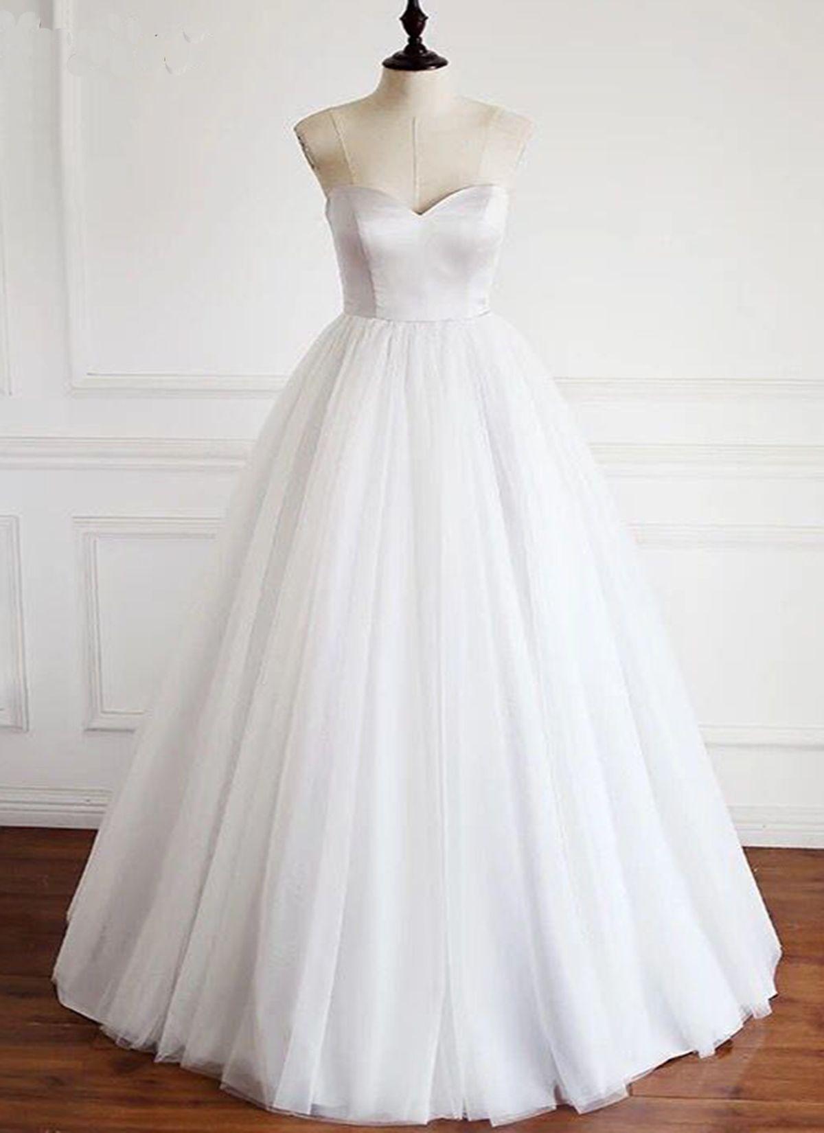 c7b374363ca99 Simple White Tulle Sweetheart Neckline Wedding Dress, Formal Dress  #promdress #prom #dress