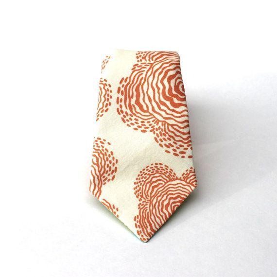 cf0695a3 Men's Tie - Poppy Print - Peach & Cream Floral Print......pair with ...