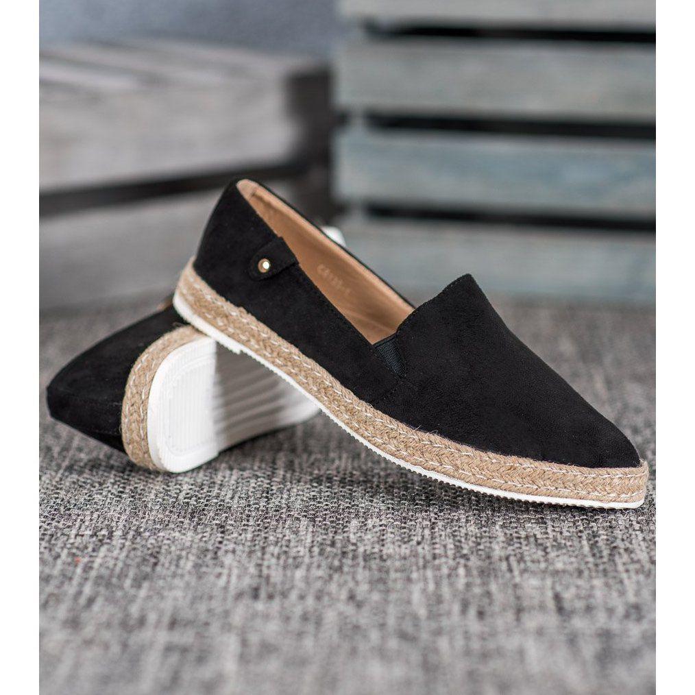 Shelovet Klasyczne Czarne Espadryle Flat Espadrille Espadrilles Shoes
