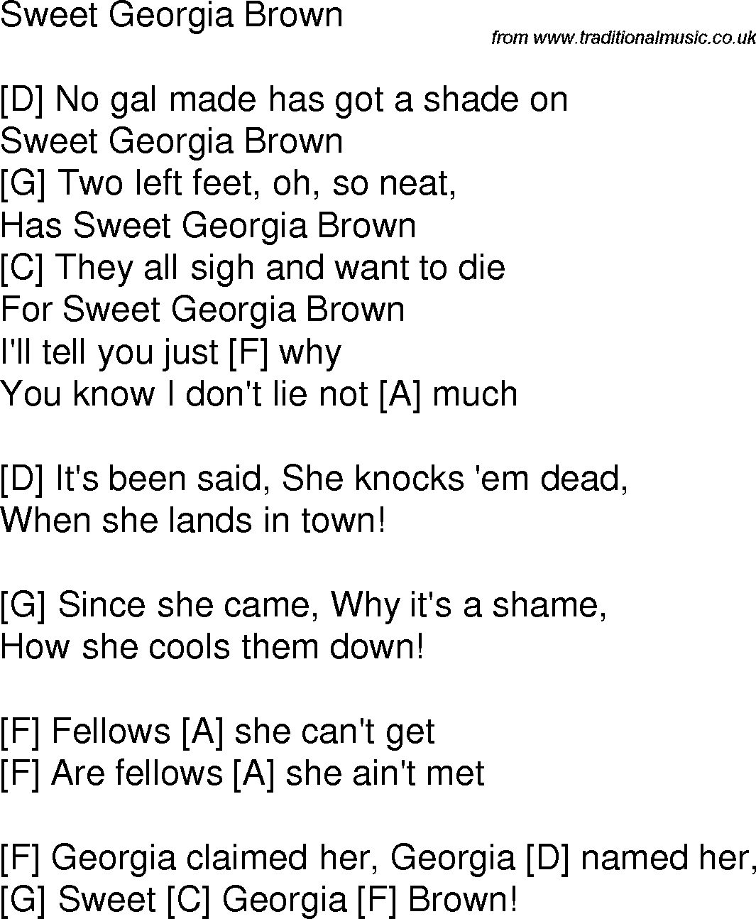 Old Time Song Lyrics With Chords For Sweet Georgia Brown F