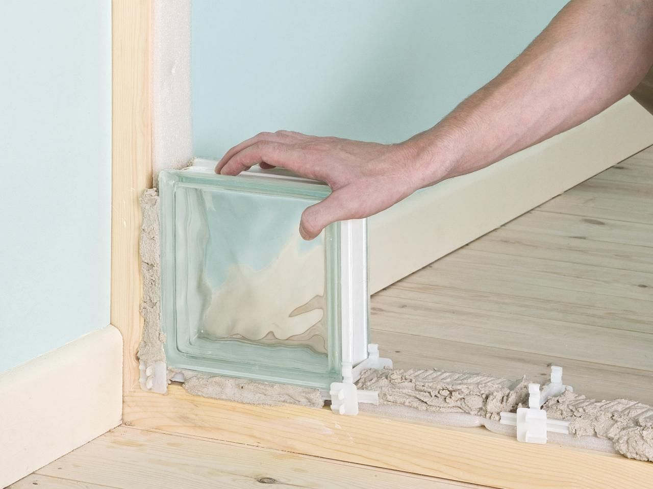 Clear glass blocks for crafts - How To Build A Glass Block Partition Or Wall