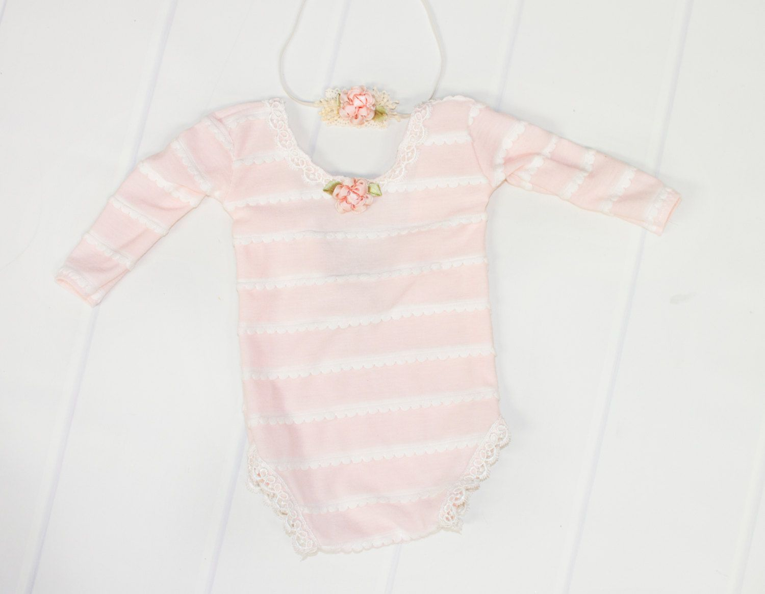 71be873770ac I Pink You re Sweet - newborn long sleeve romper in a light pink knit with off  white ruffles and lace with pink peach flowers (RTS) headband by ...