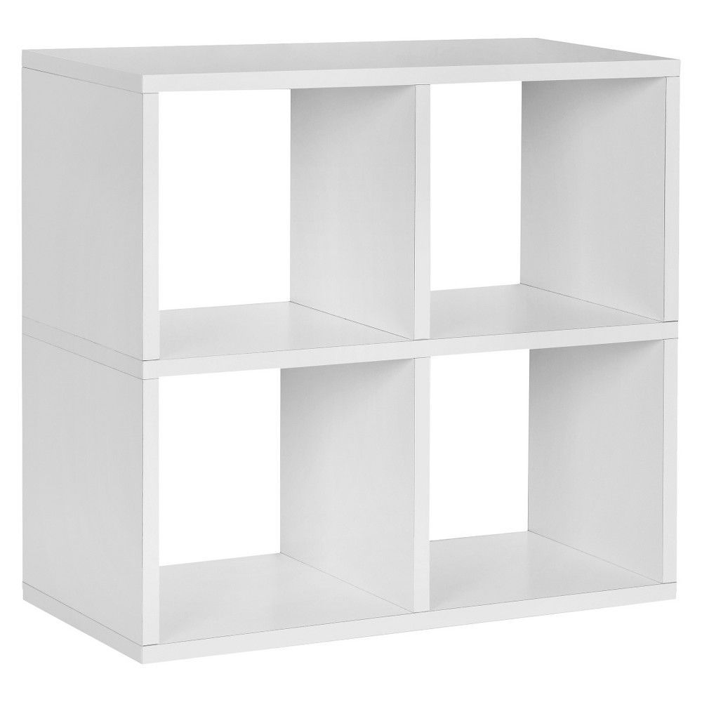 Way Basics 4 Cubby Bookcase Eco Stackable Organizer Storage Shelf White Under Desk Storage Storage Shelves Bookcase Storage