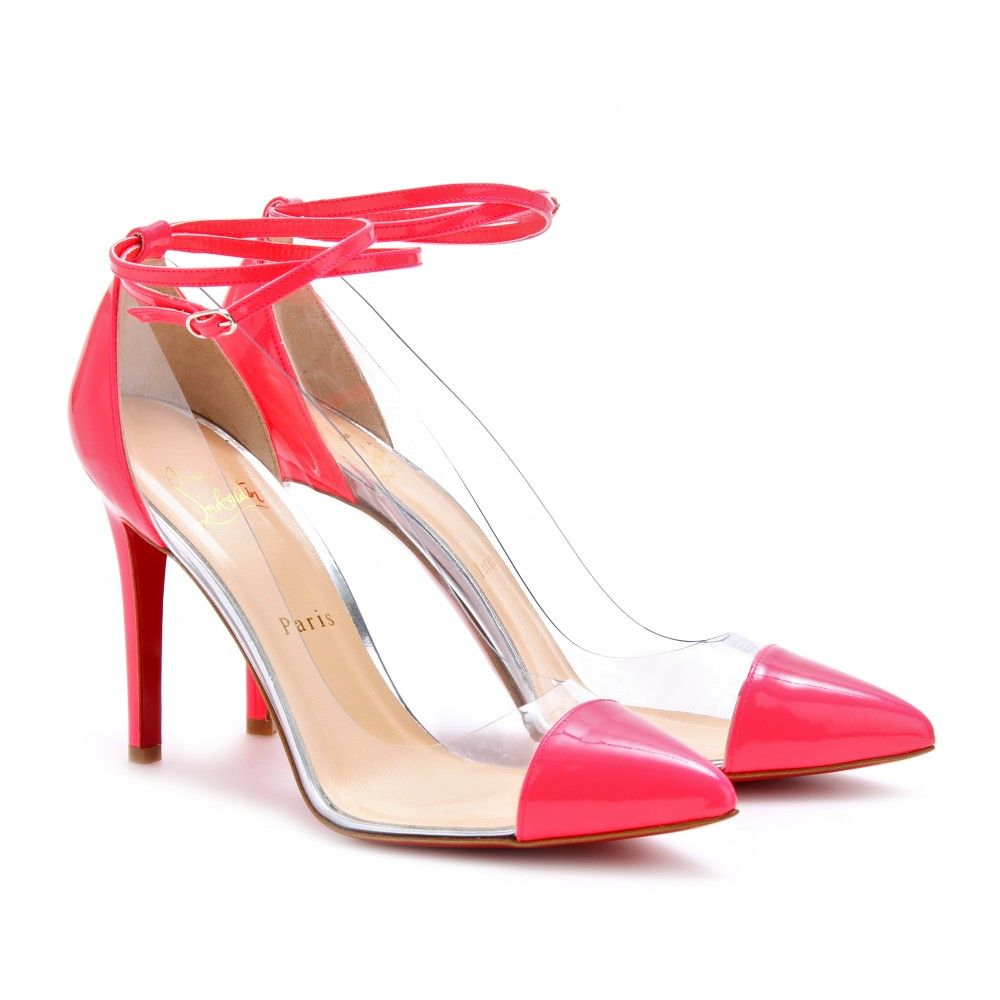 e94ef743312 Christian Louboutin Un Bout 100 Patent Detailed Transparent Pumps