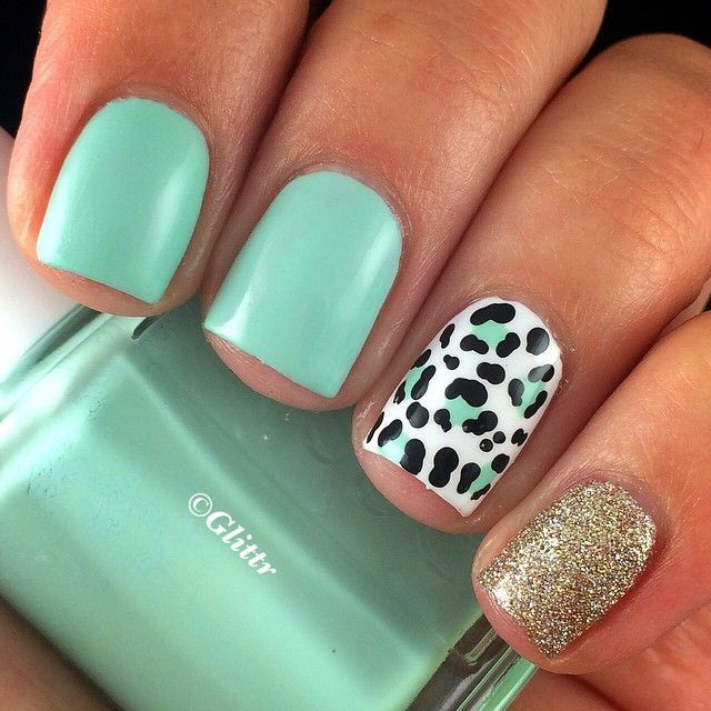 Mint, leopard & sparkle | Maquillaje | Pinterest | Uñas cuadradas ...