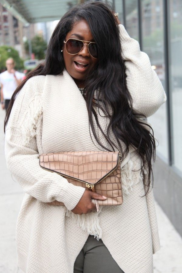 Talking with Tami spotted in NYC wearing FTF's Fringe Sweather. Click here to shop her look - http://goo.gl/3ejYK9