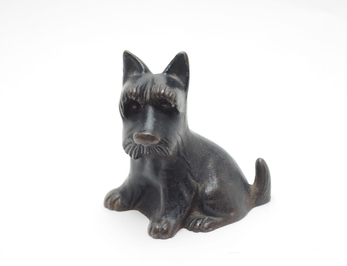 Vintage Cast Iron Scottie Dog Doorstop Or Garden Art 5 14 Tall 3
