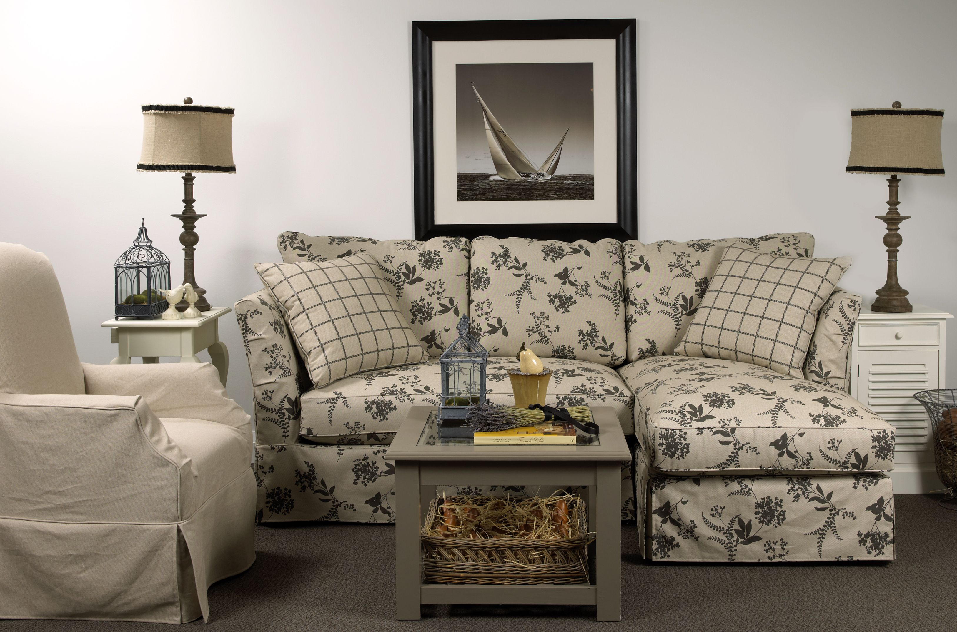 2743 Brentwood Classics Slipcover Sofa in fabric Jonquil Graphite