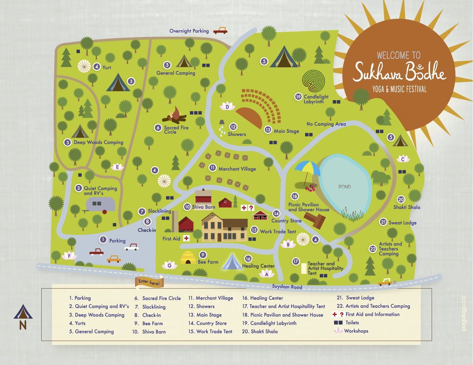 Site Illustrations And Map For The Sukhava Bodhe Yoga And Music Festival At Stonehouse Farm