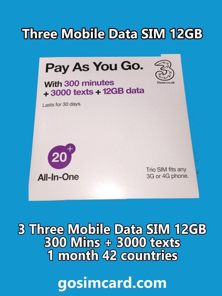 3 Three Mobile Data SIM 12GB + 300 Mins + 3000 texts 1 month 42
