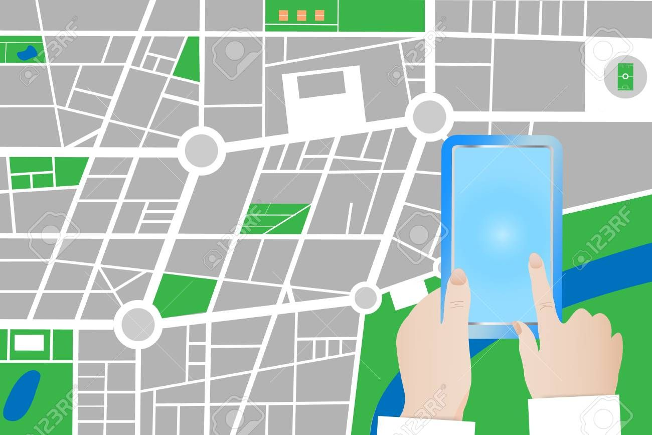 Tourist Is Touching Blank Screen Of A Smart Phone City Small In Blank City Map Template City Map Templates Best Templates