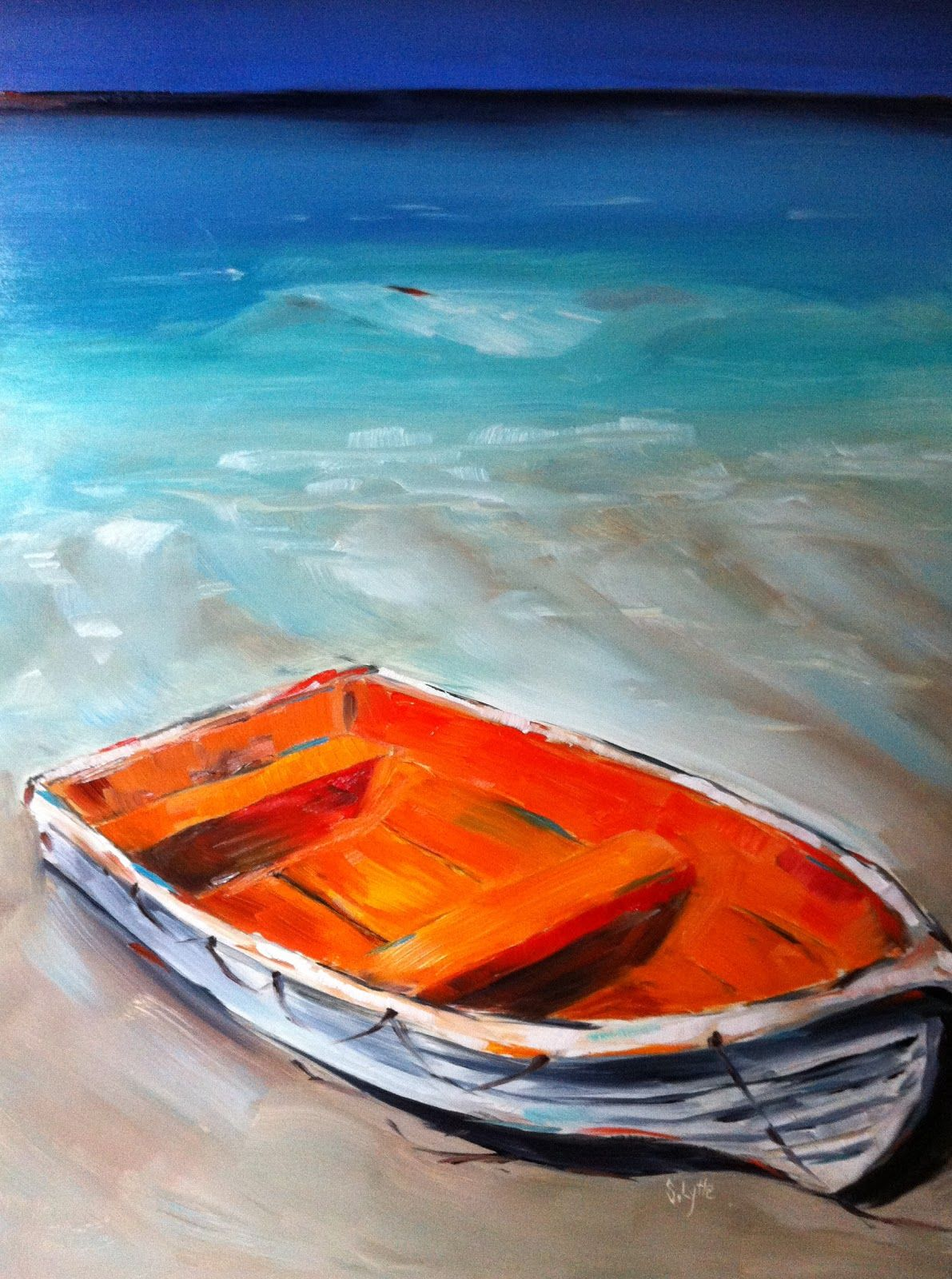"""Caribbean Blues"" 9""x12"" oil on panel Sarah B. Lytle Original Oils - SOLD"