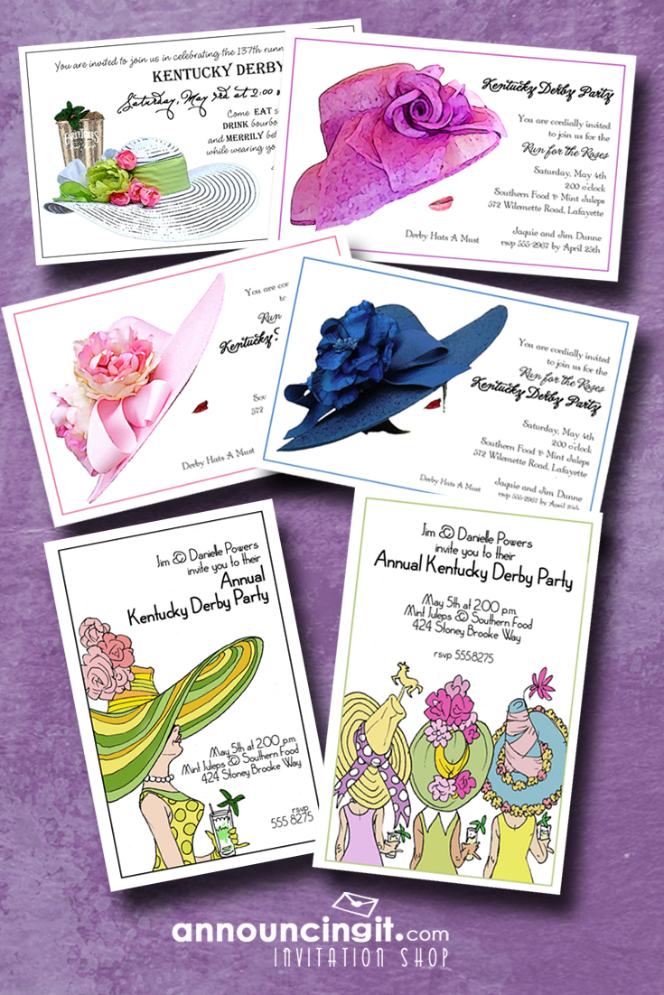 Kentucky Derby Hat Party Invitations | Hat party, Kentucky derby ...