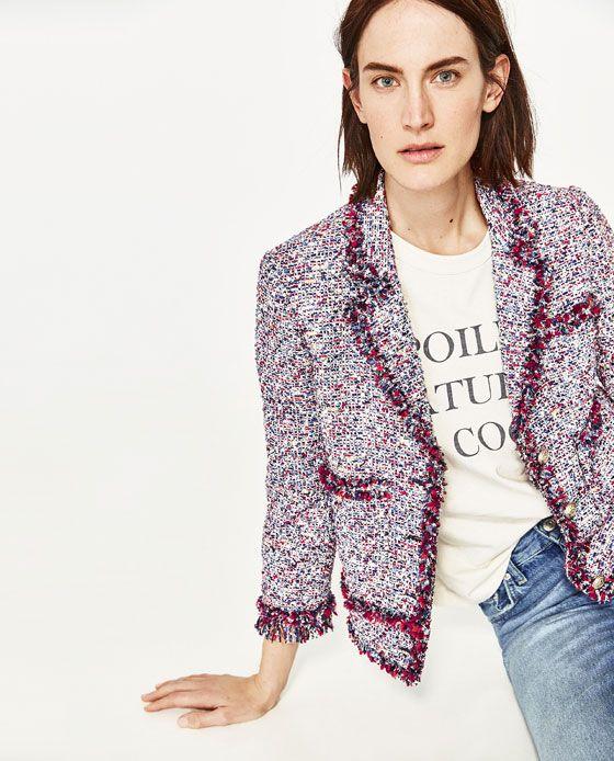 Image 4 Of Frayed Jacket From Zara Moda Zara Jaqueta