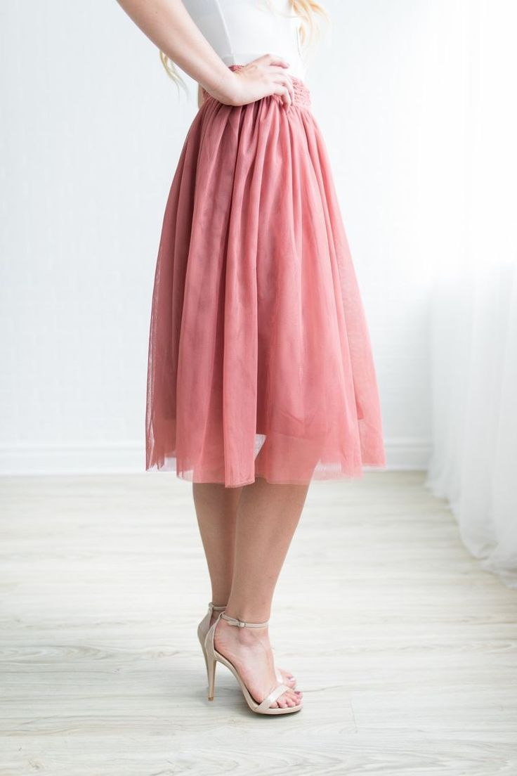 The perfect tulle midi skirt is here. Comes in mauve, dusty mustard ...