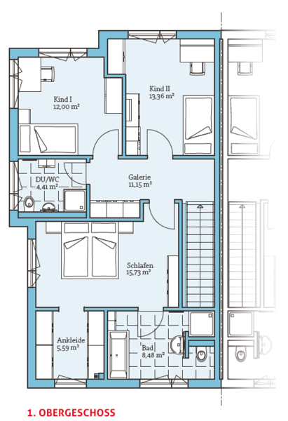 Fertighaus Doppelhaus 144 1. OG Doppelhaus grundriss