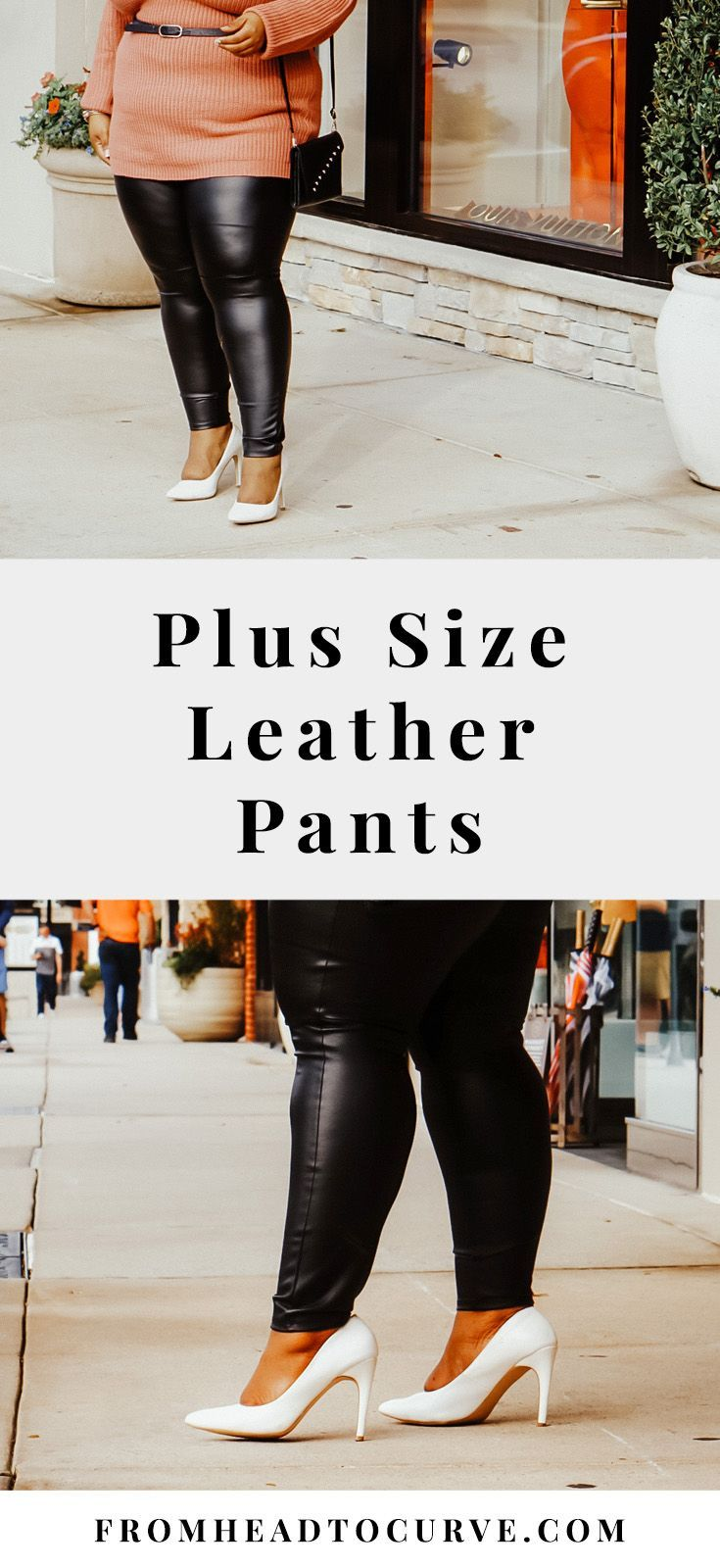For the first time in life, I tried faux leather leggings and I must say that I have fallen madly in love. I was always nervous to try faux leather pants mainly because I am plus size. Once I did, I was so happy I took the chance on these leggings.#pants #leather #leatherpants #fashion #style #plussize #curvy #plussizestyle #plussizefashion #outfits #ootd